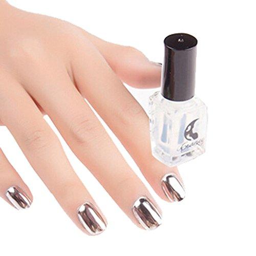 (Mchoice Mirror Nail Polish Plating Silver Paste Metal Color Mirror Silver Base Coat For Nail Art (Clear))