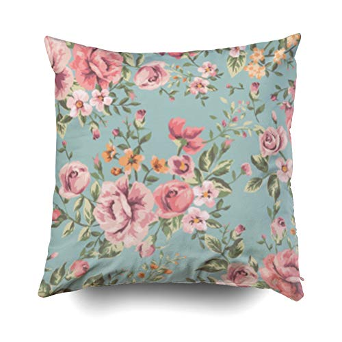- Pamime Square Throw Classic Vintage Flower Pattern Green Background Pillow Case Cover Decorative Cushion for Home 18X18Inches(45X45cm) Pillowcase