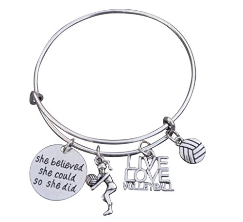 Volleyball Bracelet- Girls Volleyball Jewelry - Volleyball Charm Bangle - Perfect Volleyball Gifts for Players]()