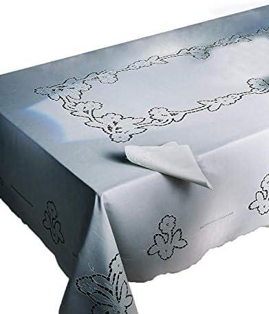 zenoni & Aves Mantel Vanessa 100% Puro Algodón Bordada A Mano Made in Italy 150 x 220 cm con servilletas: Amazon.es: Hogar