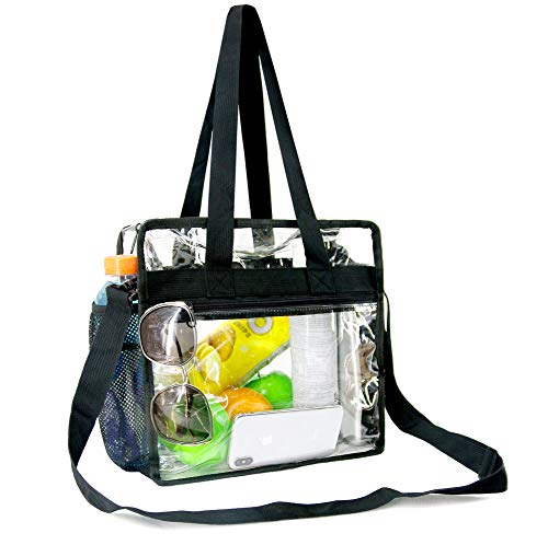 - BeeGreen Clear-Bag-Stadium-Approved with Front Zipper Pocket and Two Mesh Pockets Clear Purse with Adjustable Crossbody Shoulder Strap NFL Security Approved Transparent Tote Bag 12 x 12 x 6