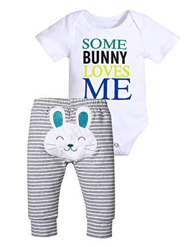 Newborn Baby Boy Easter Outfits Some Bunny Loves Me Short Sleeve Romper and Rabbit Long Pant Clothes Set 12-18 Months Grey