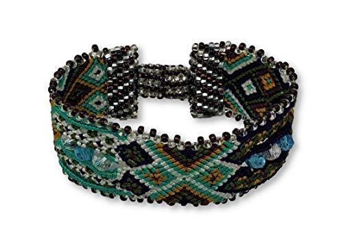 Mayan Arts Friendship Bracelets for Women and Girls, Turquoise, Purple, and Green, Beaded, Magnetic Closure, Shabby Chic, Boho, Gift, Women Fashion, Handmade in Guatemala 1 x 6.75 -