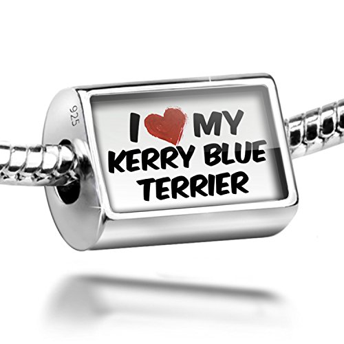 Dog Terrier Blue Charm Kerry (Sterling Silver Charm I Love my Kerry Blue Terrier Dog from Ireland - Bead Fit)