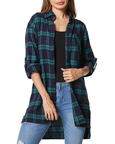 ZANZEA Loose Flannel Plaid Shirt Dress Buffalo Long Cardigan Grunge Button Down Tops Long Sleeve for Women Green US 18 ()