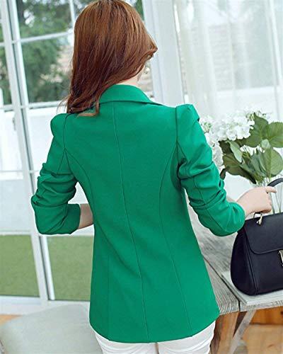 Business Chic Alta Tailleur Slim Giacche Bavero Autunno Puro Colore Confortevole Eleganti Giacca Primaverile Ufficio Lunga Cappotto Manica Grün Blazer Da Con Donna Moda Fit Vita Button vwXOOF