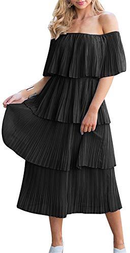- ETCYY NEW Women's Off The Shoulder Sleeveless Tiered Ruffle Pleated Casual Midi Dress Black