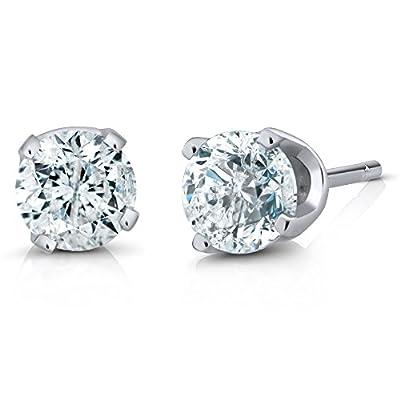 IGI Certified 1/2 cttw Round Cut 14K White Gold Diamond Stud Earrings