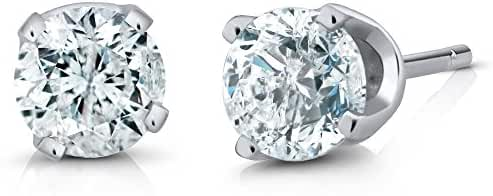 IGI Certified 14K White Gold Round Diamond Stud Earrings (1/2 cttw, I-J color or better I1-I2 clarity or better)