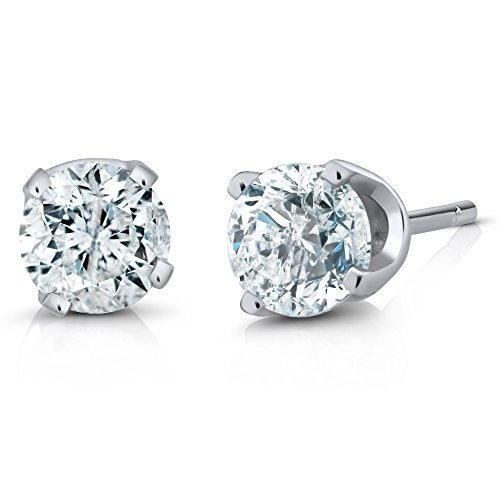 Gem Stone King IGI Certified 1-4 Ct Round Cut 14K White Gold Diamond Stud Earrings