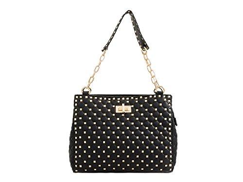 Faux Ladies Women's Designer Leather Shoulder Handle Bag Handbag Studded Black KT2200 Chain UU5rY