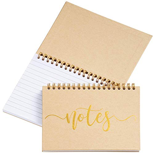 - Paper Junkie 6-Pack Top Bound Spiral Notepads for Wedding, Bridal Party Favors, Note Taking, to-Do Lists, Gold Foil Accent Design, Hard Cover, 60 Sheets, 6.5 x 5 Inches
