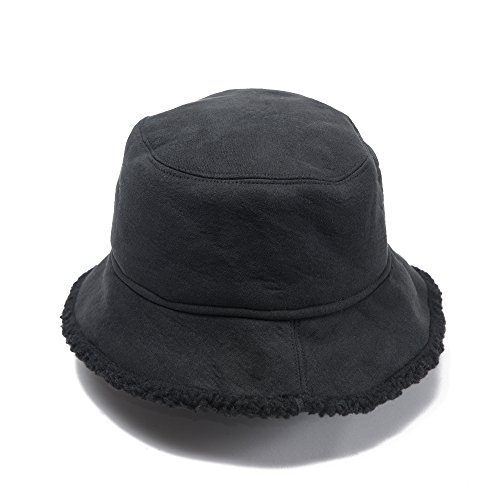(Free Spirit Faux Fur Shearling Bucket Hat for Women & Girls - Lightweight & Versatile for all Seasons with 2 Colors - Perfect Gift for a Girlfriend, Sister, Mom, Daughter (Black))