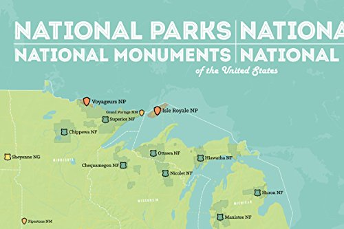 Amazon.com: US National Parks, Monuments & Forests Map 24x36 Poster ...