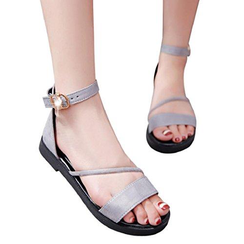 Fheaven Zomer Sandalen Voor Dames Platte Schoenen Ronde Neus Romeinse Sandalen Bandjes Enkelkleurig Zwart