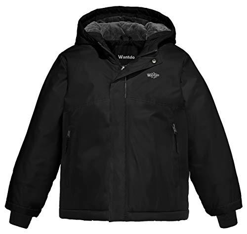 Wantdo Boy's Windproof Ski Jacket Fleece Lining Rainwear for Camping Black 8