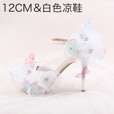 Shoes 4 Pointed VIVIOO Higher Sandals 12Cm Heeled Waterproof 7 Female A 5 Evening White Heels Wristband Rhinestone Butterfly High Prom Wedding Bride Flower pRqpXw