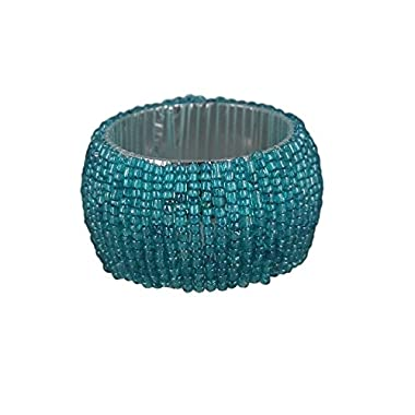 ShalinIndia Beaded Napkin Rings - Set of 12 Rings -Turquoise Napkin Rings Set -Diameter-1.5 Inch