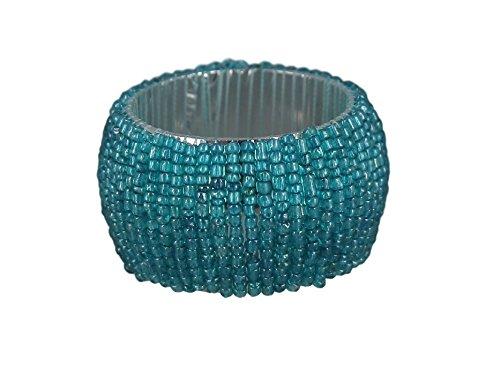 (ShalinIndia Handmade Beaded Napkin Rings Set With 4 Turquoise Glass Beaded Napkin Holders - 1.5 Inch in Size)