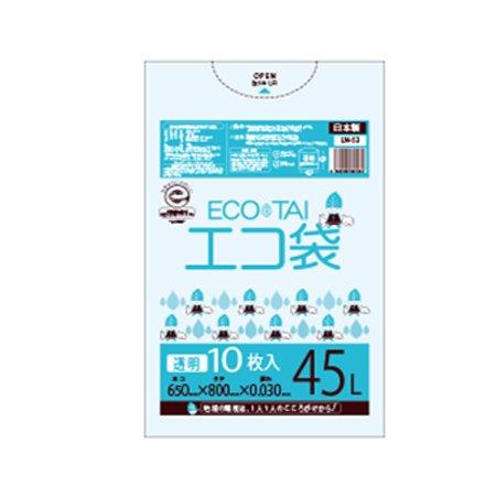 サンキョウプラテック エコ袋 45L 0.030厚 透明 10枚入×60冊 LN-43 B077SJNZLB 厚さ0.030mm 透明 透明 厚さ0.030mm