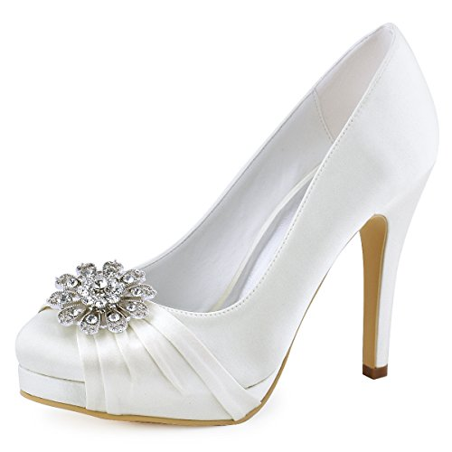 ElegantPark EP2015-NW Women High Heel Platform Pumps Closed Toe Buckle Satin Bridal Wedding Shoes Ivory US 9