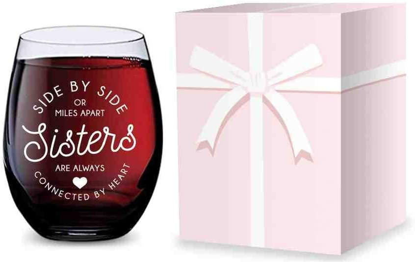 Stemless Wine Glass for Sisters - Made of Unbreakable Tritan Plastic and Dishwasher Safe - 16 ounces