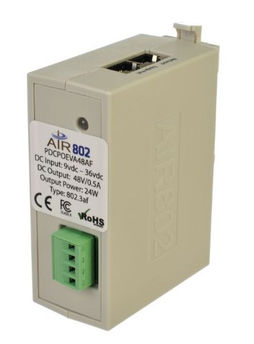 AIR802 DC - DC Converter + 802.3af PoE Injector 9 - 36 VDC In and 48 VDC PoE Out (Din Rail Mount) by AIR802