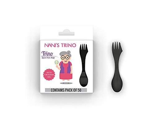 Nani's Trino (Spoon+Fork+Knife) Durable BPA Free Multifunctional cutlery  Spoon Fork and Knife Flatware  For Pastries and desserts  Spork(Pack of 50- Black -Small (Black Pastry Fork)