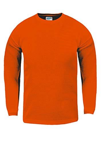 Fitscloth KTC15_L Thermal Long Sleeve Crewneck Waffle Shirt Orange L