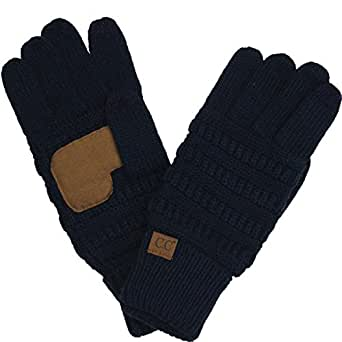 Winter CC Touch Screen Smart Cellphone Finger Tips Warm Soft Knitted Gloves Navy