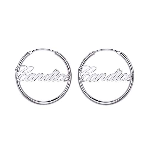 (LONAGO Name Plate Endless Hoop Earrings Personalized Initial Sterling Silver Brass Earrings Set White Rose Gold Plated Customized Jewelry Gift for Women Girls (White-Gold-Plated, Sterling-Silver))