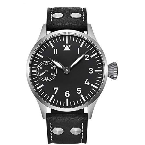 Corgeut 44mm Black Sterile Dial Sapphire Glass Luminous Marks 3ATM Water Resistance 17 Jewels Seagull 6497 Hand Winding Movement Men's Wrist Watch (Model-2)