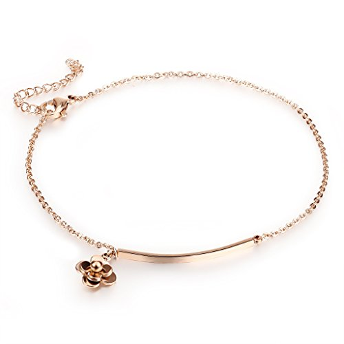 Fashion Ahead Women's Ankle Bracelet Rose Gold Stainless Steel Solid Rose Flowers Charms Anklet Foot Chain for Girls Beach Wedding/Party Foot Jewelry,Adjustable by Fashion Ahead