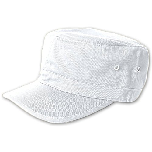 Embroidered Cadet Hat - Wholesale Enzyme Washed Cotton Army Cadet Castro Hats (White) - 20778  One Size