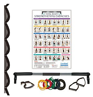 ExerBand Portable Home Gym - Complete Kit: Door Attachment, Resistance Bands, Fitness Bar, Exercise Poster by PrePak Products