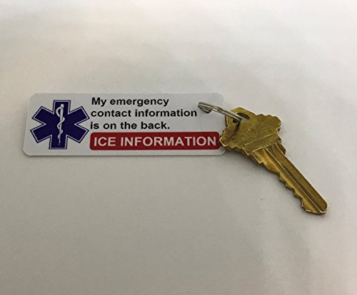 2 Pack In Case of Emergency ICE Card Medical Key Tags