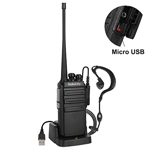 Radioddity GA-2S UHF Two Way Radio 400-470MHz 16CH Rechargeable VOX Long Range Outdoor Walkie Talkies with Micro USB Charging + USB Desktop Charger + Earpiece (1 Pack) by Radioddity