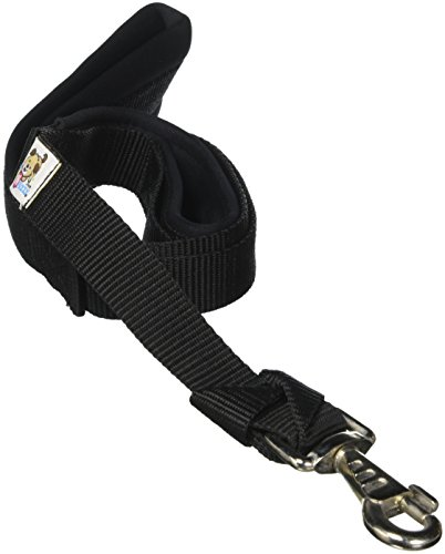 CuteNFuzzy Padded Double Handle Leash with Warranted Replaceable Snap, Black, 1'' by 4' by cuteNfuzzy