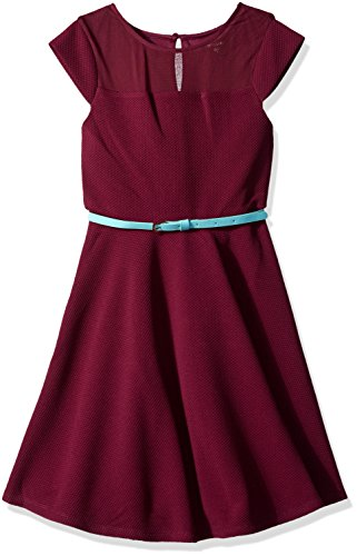 ZUNIE Girls' Big Capsleeve Illusion Textured Knit Skater Dress, Plum 14 -