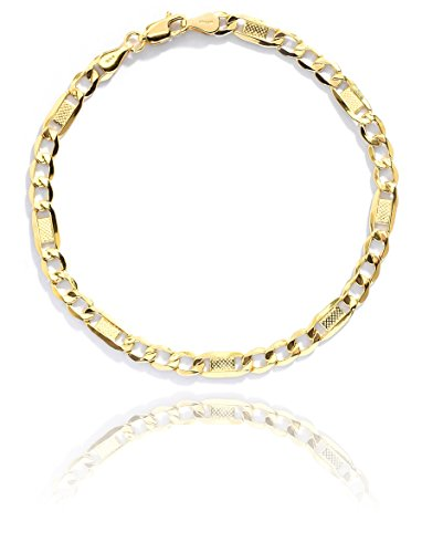 8 Inch 10k Yellow Gold Hollow Bar Figaro Chain Bracelet for Women and Men, 5mm - Figaro Lightweight Bracelet