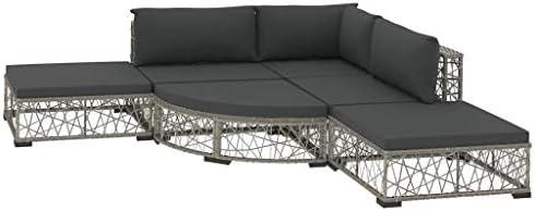 UnfadeMemory Set de Sofás de Jardín con Cojines y Diseño de Tejido,Muebles de Jardín Terraza Balcón o Patio,Ligero y Modular,Ratán Sintético Gris (3 Sofás+2 Taburetes+Reposapiés en Forma de Abanico): Amazon.es: Hogar