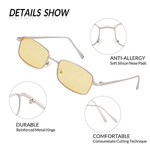 Sunglasses Silver Fashion ADEWU Retro Lens New Men for Women Square Glasses Yellow Frame naaFOxp6