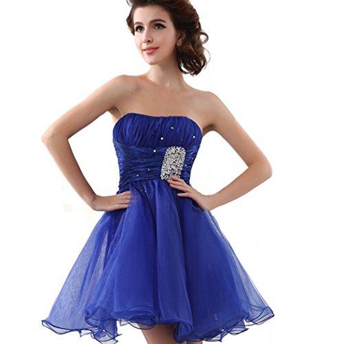 Favebridal Royal Blue Chiffon Girl's Strapless Lace-up Celebrity Short Dresses SD018-US2