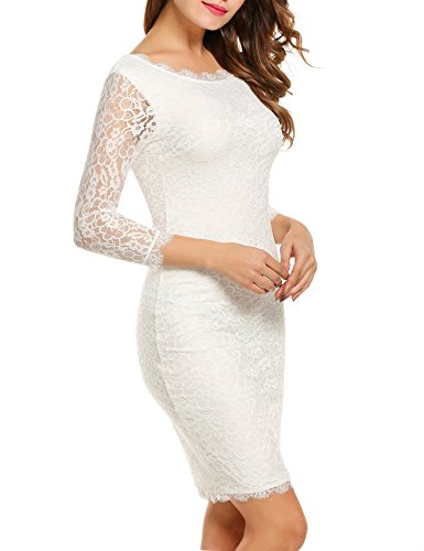 ACEVOG Women Ladies Package Hip Knee Length Floral Lace Pencil Party Dress (X-Large, White)
