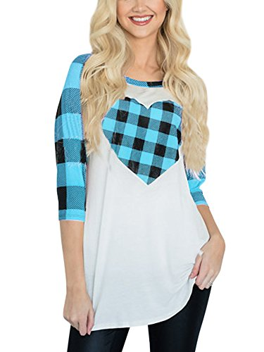 Womens Raglan Shirts 3/4 Sleeve Heart Shaped Plaid Baseball Tops Tunics Casual Blouses Blue
