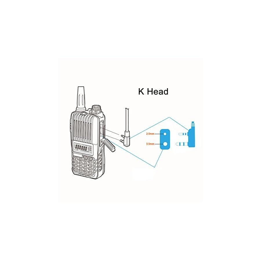 Radio Mic Earpiece Headset,2 Pin PTT Covert Acoustic Tube Earpiece for Two Way Radio Kenwood Baofeng UV 5R/888S/UV 82/UV 82HP/UV 5R V2+/BF F8HP,2 Pack By Tunteil