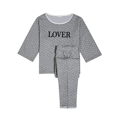 B Conjunto Basic Dormir Ropa Pijama Camison Larga Pantalones Taille Carta De Lunares O Elastische Manga Cuello Mujer HxqHr1wa