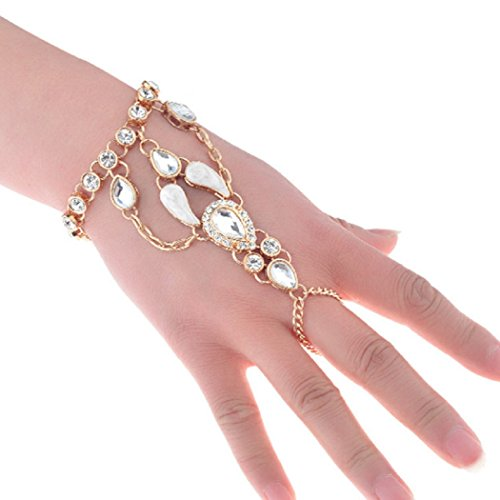 SUNSCSC Crystal Rhinestone Hand Harness Bangle Chain Link Finger Ring Bracelet Wedding Jewelry For Women (Gold 1 - Saturday Delivery Special