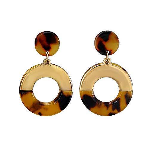 Round Shell Earrings - FAMARINE Tortoise Shell Round Circle Drop Earrings, Gold Geometric Mottled Acrylic Stud Drop Earring for Girls Women