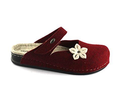 Tissu Grunland Pantoufles Déchirure Boucles Dame Reps Rouge Bord de Rouge CI2256 qTR457